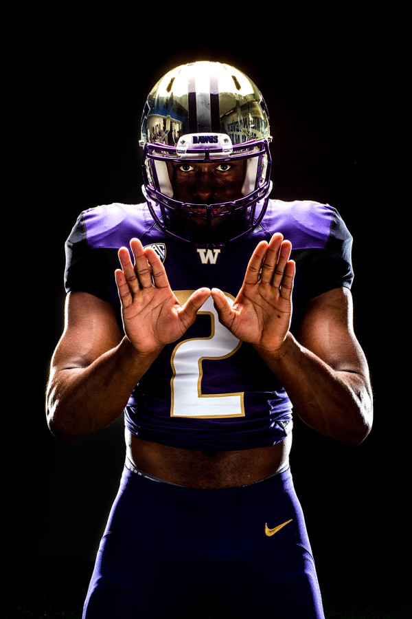 University of Washington wide receiver Kasen Williams sports the new Nike uniforms the UW will wear in 2014. (Photography By: Scott Eklund/Red Box Pictures)