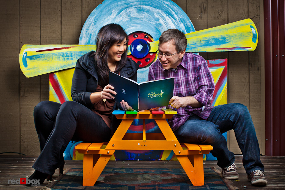 GeekWire calendar shoot - Jenny Lam and Hillel Cooperman